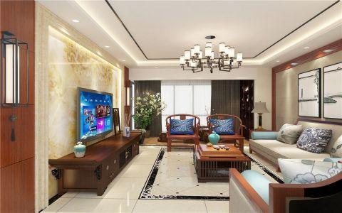 2019新中式客厅装修设计 2019新中式电视柜装修效果图片
