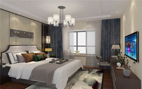 2019新中式卧室装修设计图片 2019新中式电视柜效果图
