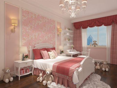 儿童房白色床头柜现代简约风格装潢设计图片