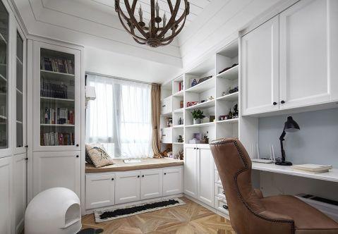 书房白色飘窗美式风格装修效果图