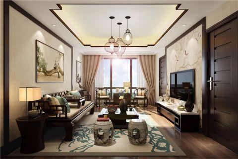 客厅吊顶新中式风格装潢设计图片
