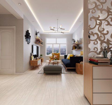 枫蓝国际现代简约62平米二居室装修效果图
