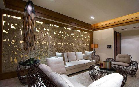 客厅背景墙东南亚风格装饰图片