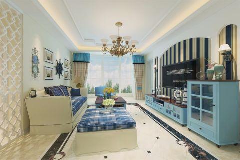 地中海风格125平米三室两厅新房装修效果图