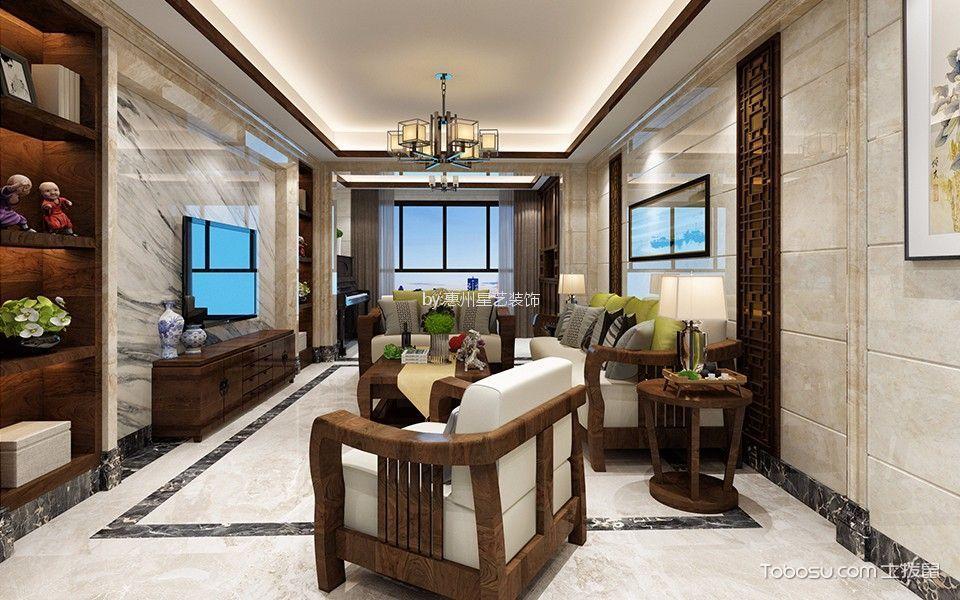 惠州雅居乐白鹭湖100平米中式风格效果图