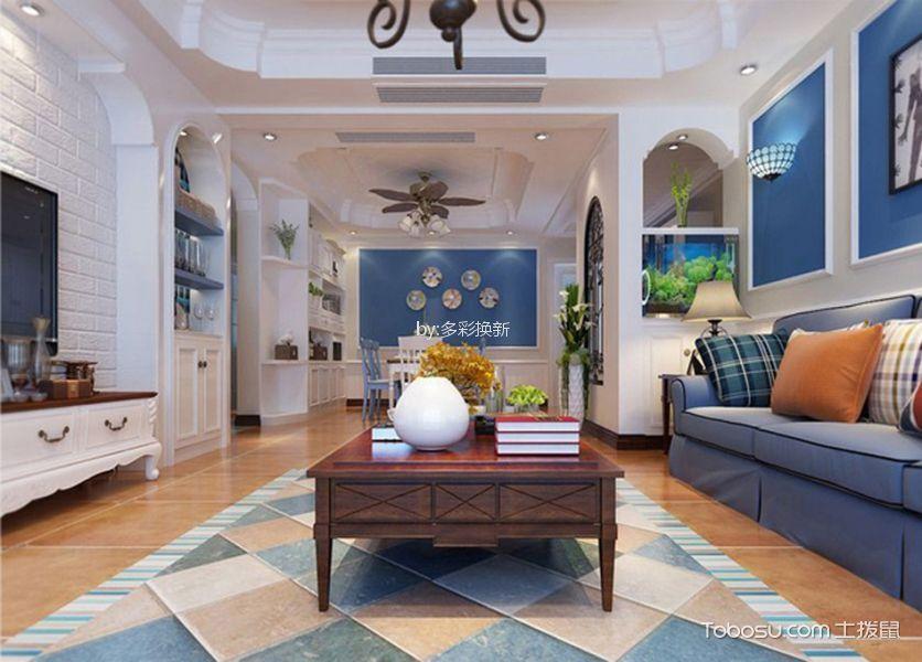 地中海风格66平米三室两厅新房装修效果图