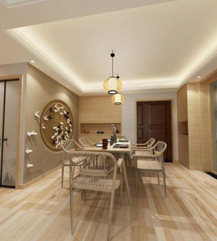 鄞州五乡镇富汇半岛120平方日式风格三居室装修效果图