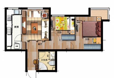 现代简约风格50平米两室两厅新房装修效果图