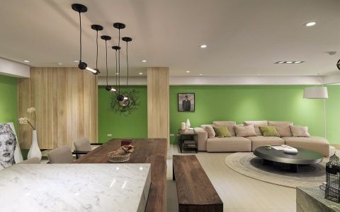 客厅绿色背景墙现代风格装修图片