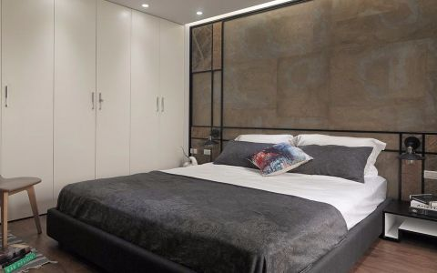 卧室咖啡色背景墙现代风格装修设计图片