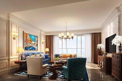 客厅白色吊顶美式风格装饰设计图片
