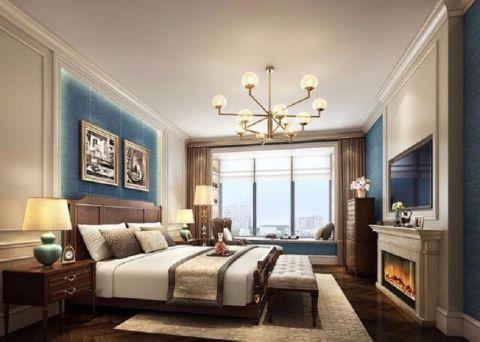 卧室咖啡色窗帘美式风格装潢设计图片