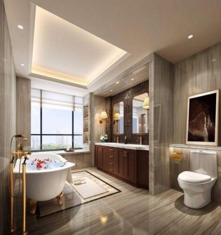 浴室白色浴缸美式风格装修效果图