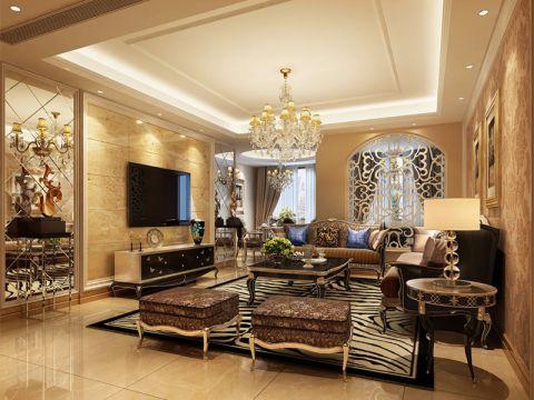 客厅白色吊顶欧式风格装修效果图