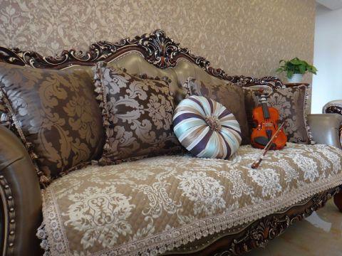 客厅咖啡色沙发欧式风格装饰效果图