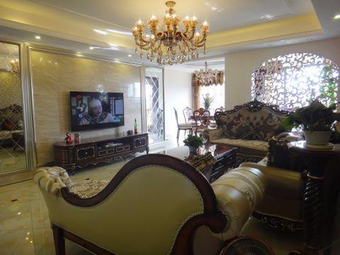 客厅咖啡色电视柜欧式风格装潢效果图
