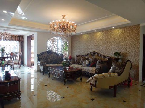 客厅咖啡色茶几欧式风格装修图片