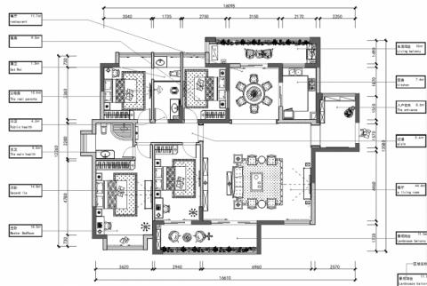 龙岗家和盛世简欧风格四居室装修效果图