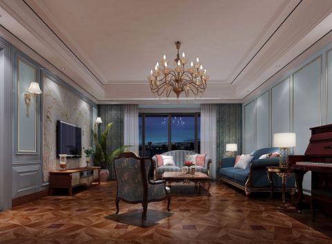 客厅绿色窗帘美式风格装潢设计图片