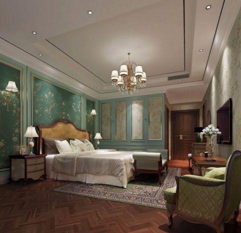 卧室橙色床美式风格效果图