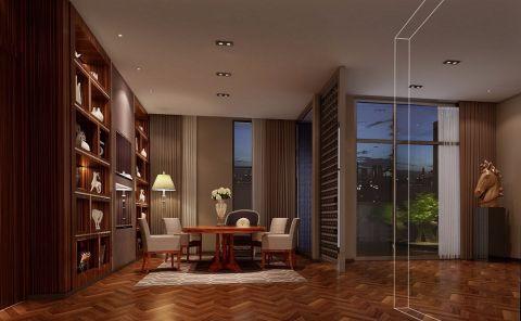 书房咖啡色博古架美式风格装修效果图