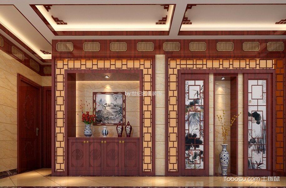 玄关黄色地砖新中式风格装潢设计图片