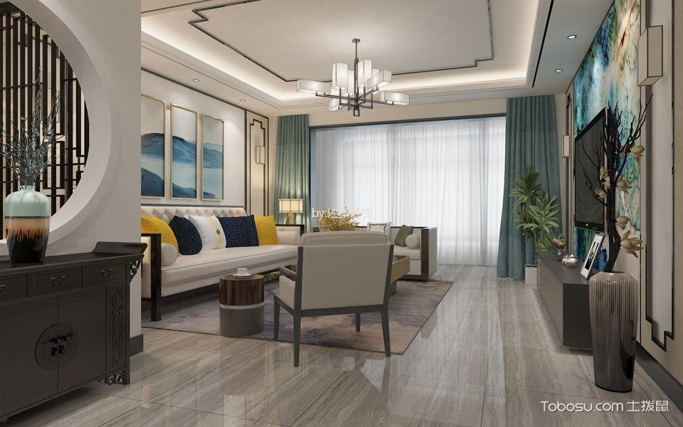 中式风格120平米两室两厅新房装修效果图