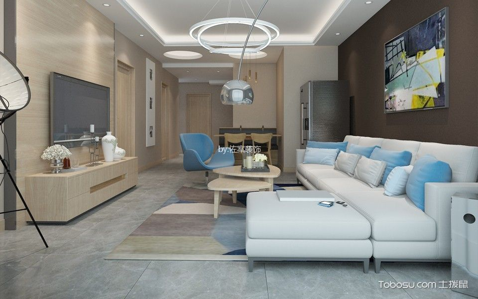 大户型现代简约风格三居室装修效果图