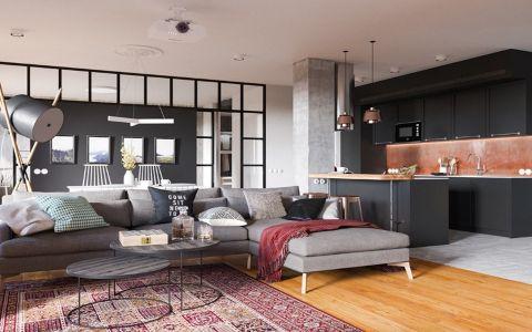 客厅吊顶北欧风格装潢图片
