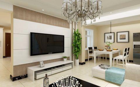 优雅现代简约白色电视柜装饰图