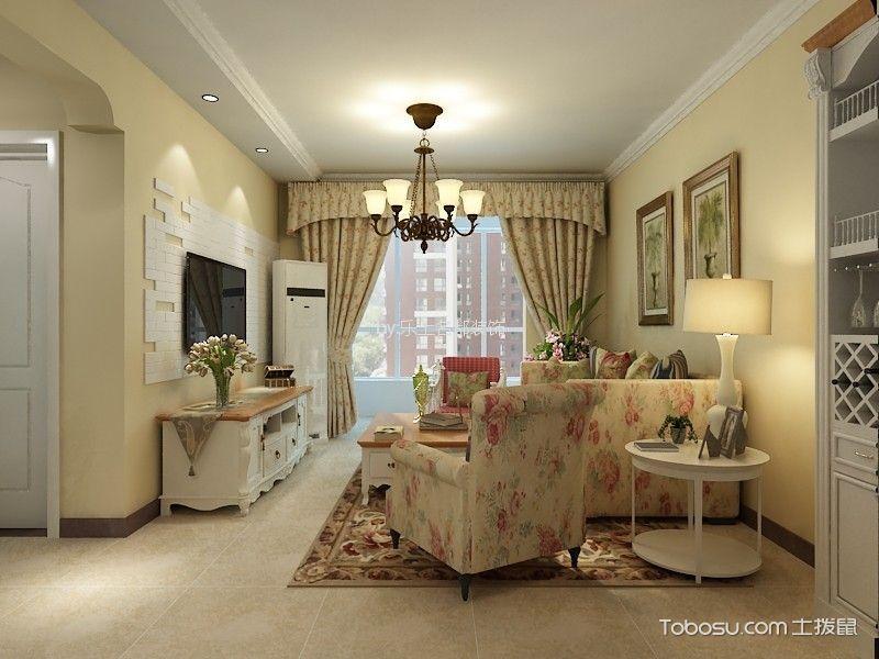 翰林观天下84平两室两厅田园风格装修效果图