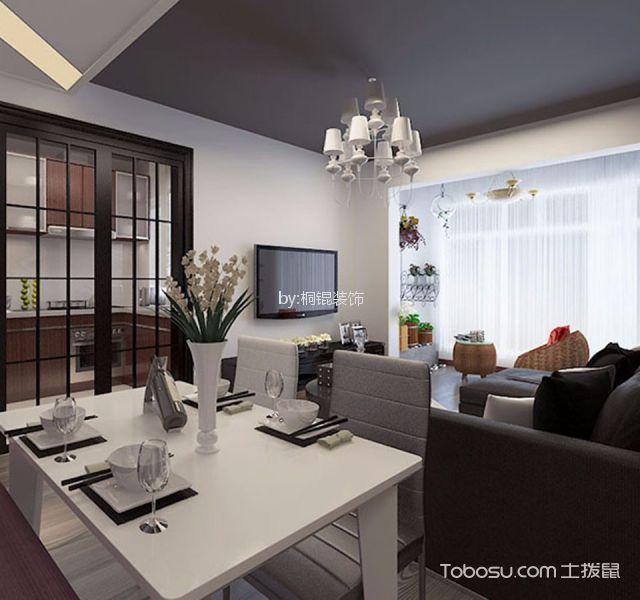 餐厅 餐桌_后现代风格55平米一室一厅新房装修效果图
