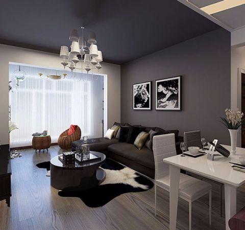 后现代风格55平米一室一厅新房装修效果图