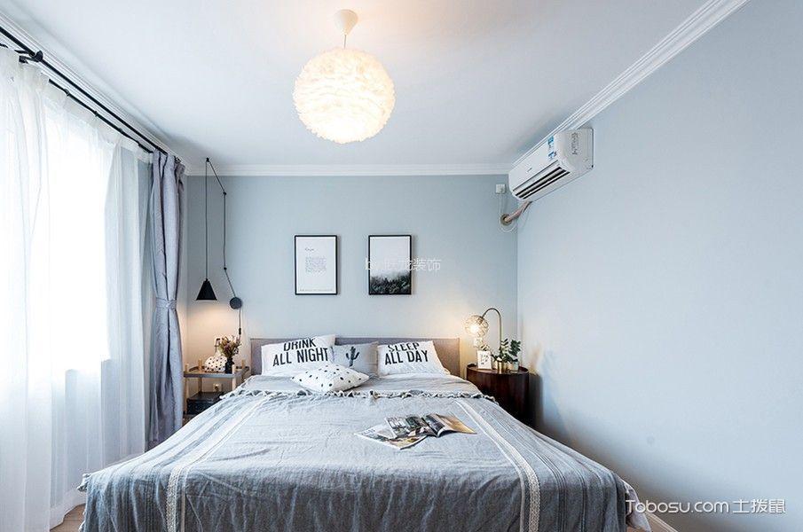 卧室蓝色照片墙北欧风格装修设计图片