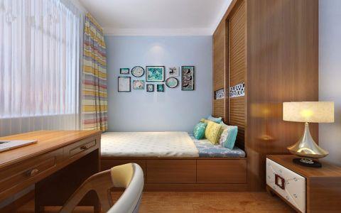 卧室蓝色照片墙新中式风格装潢图片