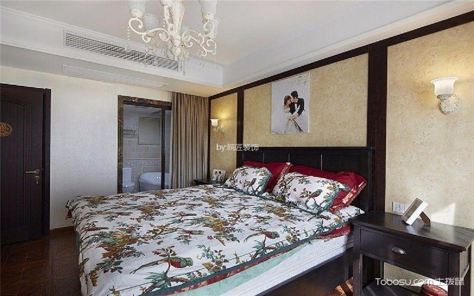 卧室咖啡色床古典风格装潢图片