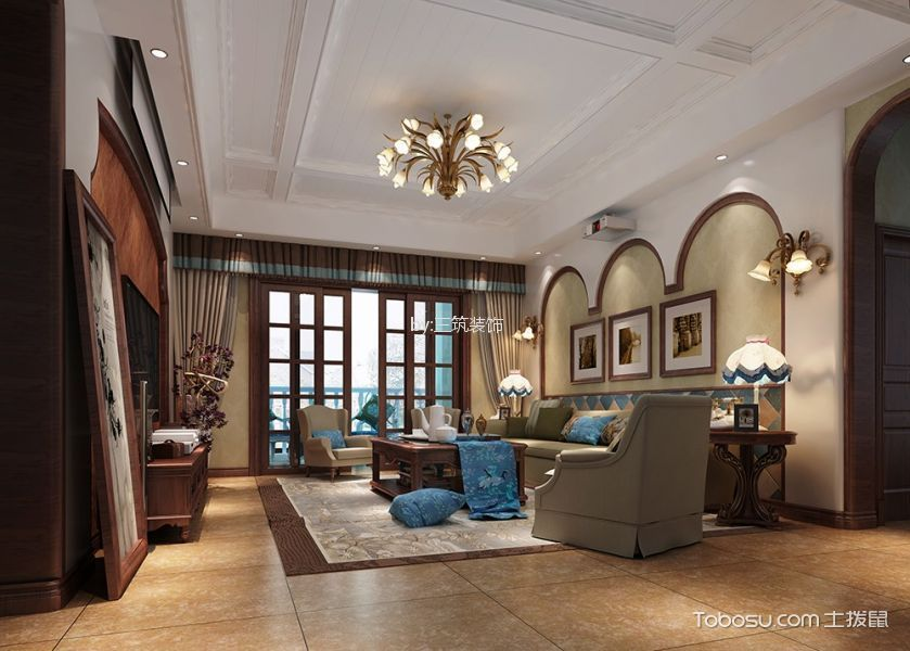 美式风格140平米四室两厅?#36335;?#35013;修效果图