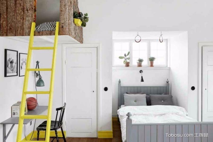 儿童房灰色床北欧风格装修效果图
