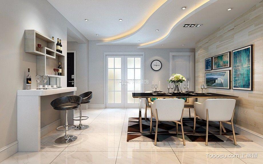 餐厅白色吧台现代简约风格装潢设计图片