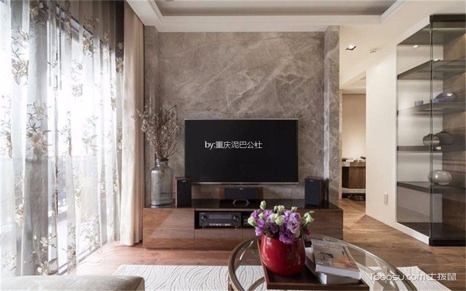 客厅咖啡色电视柜混搭风格装潢设计图片