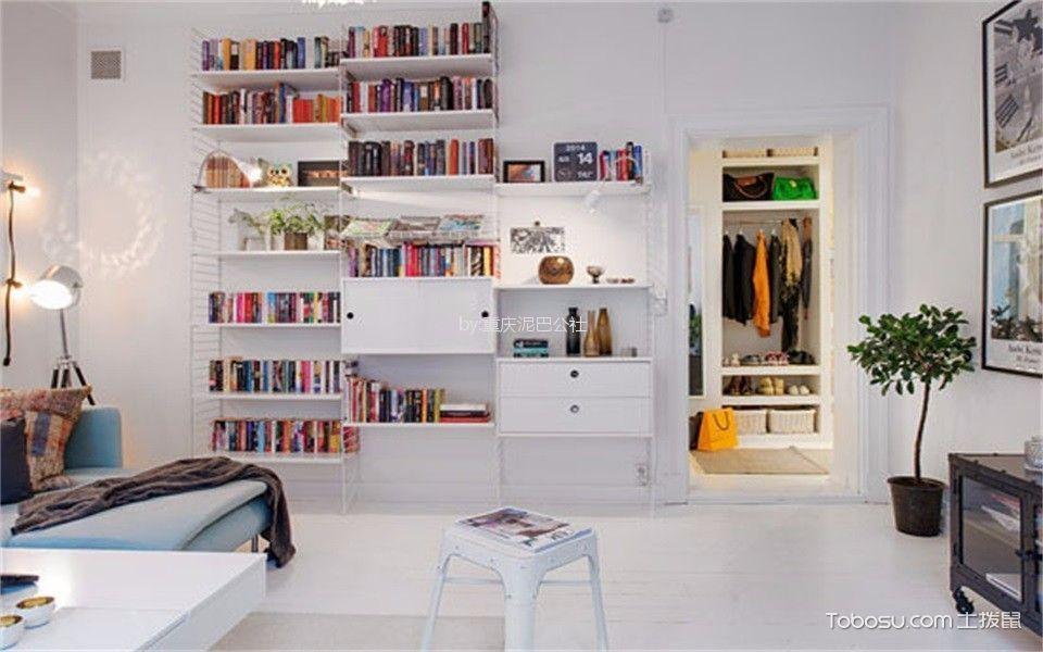 书房 背景墙_59平北欧风格一居室装修效果图