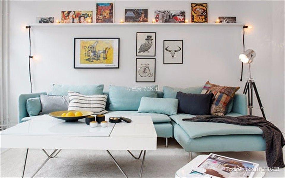 客厅 照片墙_59平北欧风格一居室装修效果图