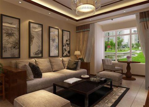 中式风格91平米套房室内装修效果图