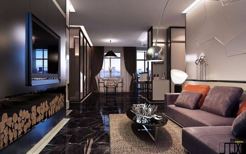后现代风格135平米三室两厅新房装修效果图