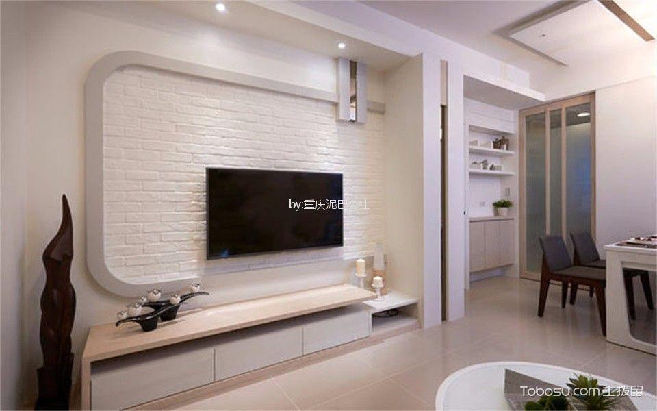 客厅白色电视柜混搭风格装潢设计图片