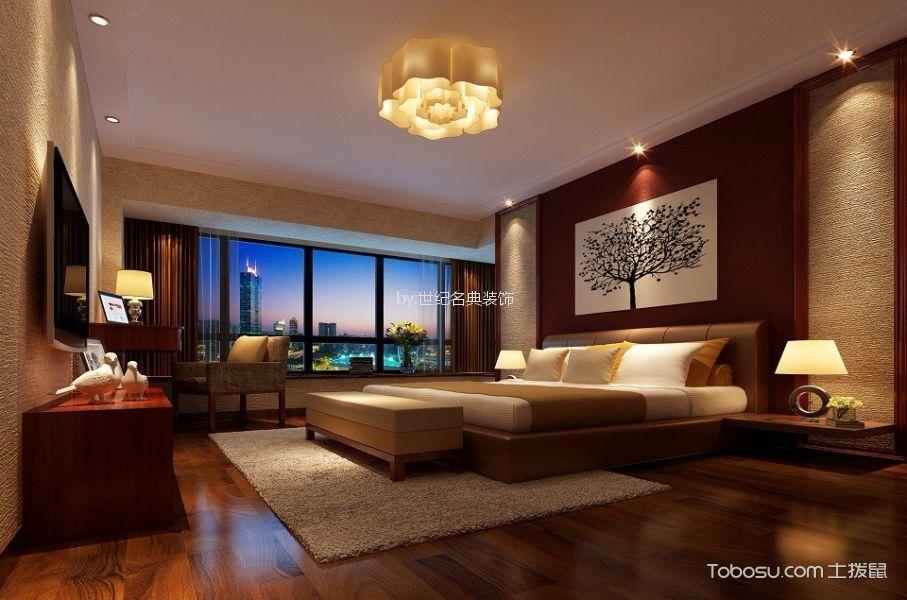 卧室咖啡色床简中风格效果图