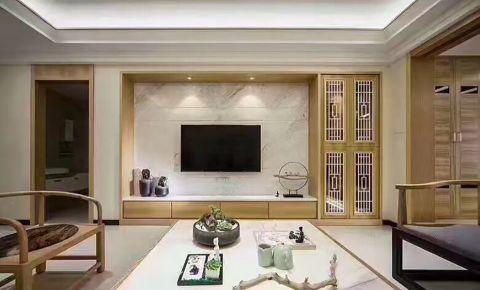 新中式风格108平米三室两厅新房装修效果图