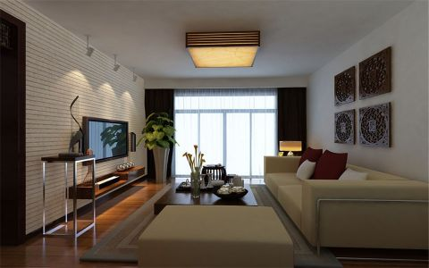 日式风格110平米三室两厅新房装修效果图