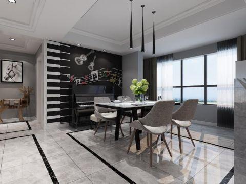 星河国际现代风格三居室装修效果图