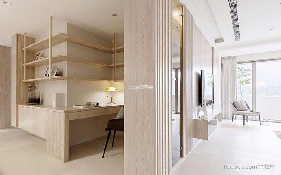 书房黄色书桌日式风格装潢设计图片